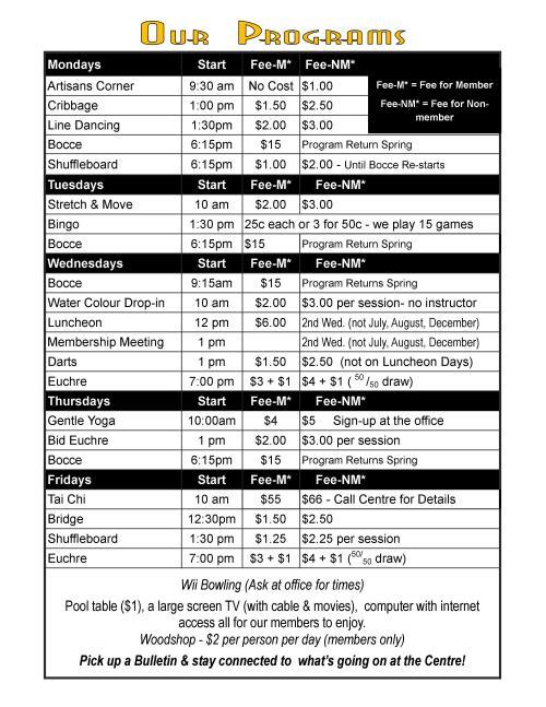 Programs March 2016