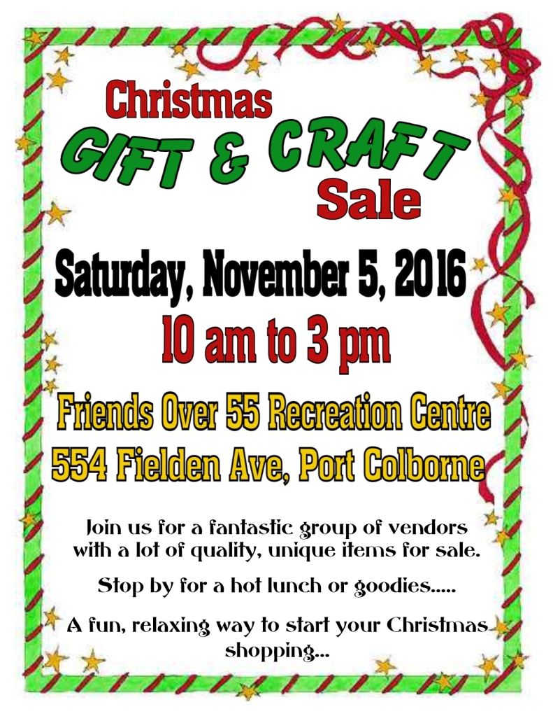 Craft Sale Poster Friends Over 55 Recreation Centre